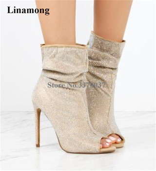 High Quality Women Fashion Open Toe Rhinestone Short Gladiator Boots Bling Bling Thin Heel Crystal High Heel Ankle Boots