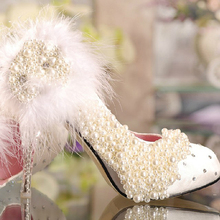 Elegant Lady High Heel Bridal Pearl Wedding Shoes Custom-made Sweetness Banquet Evening Party Prom Pumps Plus Size 34-42