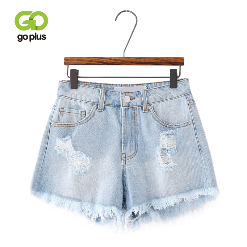 GOPLUS Summer Denim   Shorts   Women Casual Light Blue Ripped Hole High Waist Tassel   Shorts   Femme Streetwear Pantalones Cortos Mujer