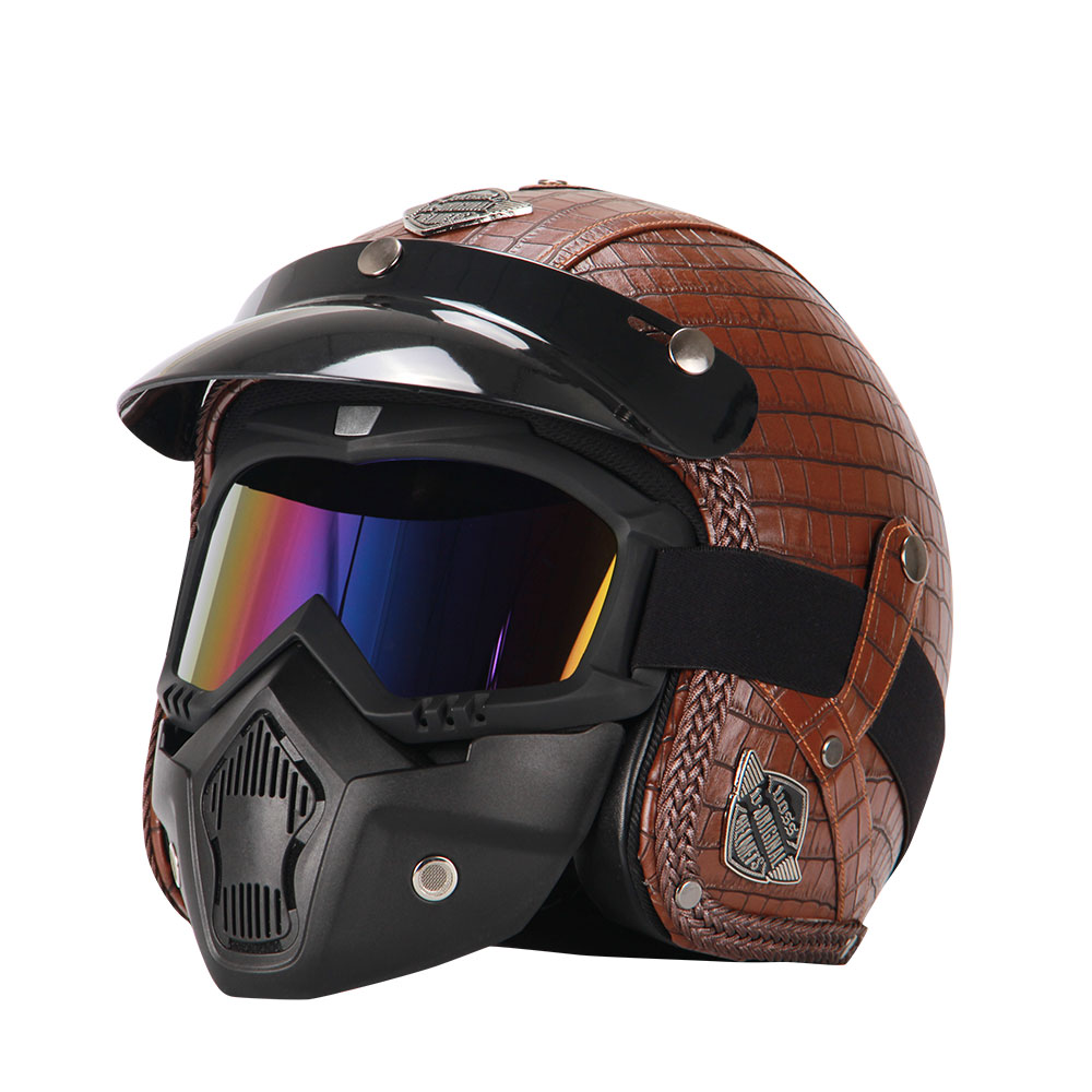 Retro Casco Moto D'epoca In Pelle Sintetica 3/4 Aperto Viso Casco Cafe Racer Cruiser Chopper Casco Moto Casco DOT