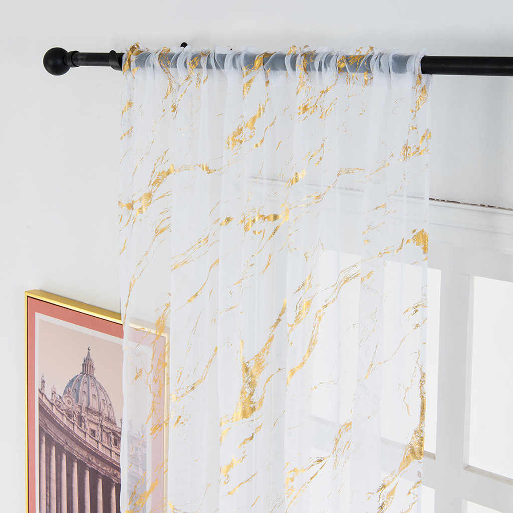 1pc Elegant Simple Gold Silver Marble Curtain Delicate Tulle