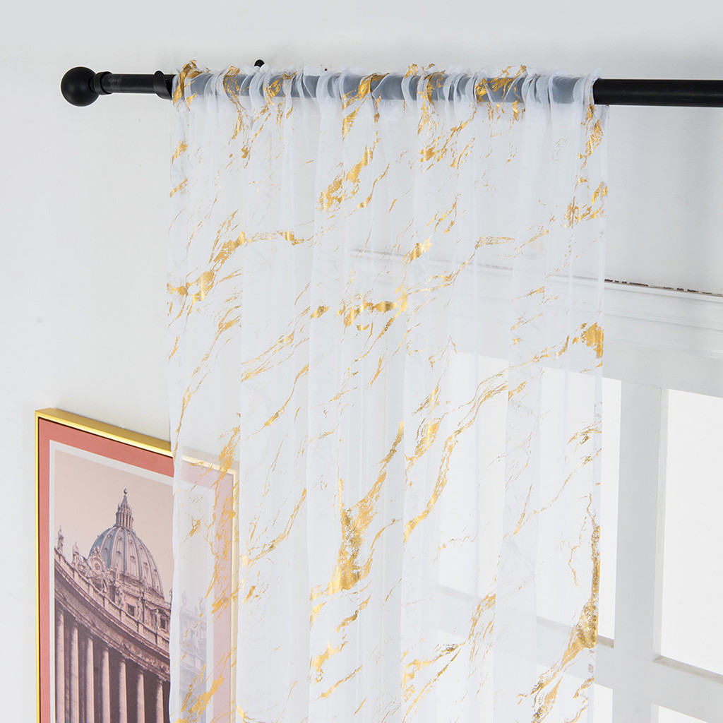 1PC Elegant Simple Gold/Silver Marble Curtain Delicate Tulle Window Voile Fabric Drape Valance Curtains For Home Decoration