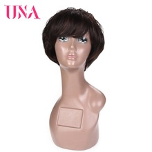 UNA Bob Short Wigs Brazilian Straight Hair Non Remy 120% High Density Human For Women