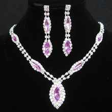 Hot Jewelry Sets (Necklace+Earrings) Bridal Jewellery For Party Anniversary Wedding Romantic Trendy Rhinestone Necklace Sets