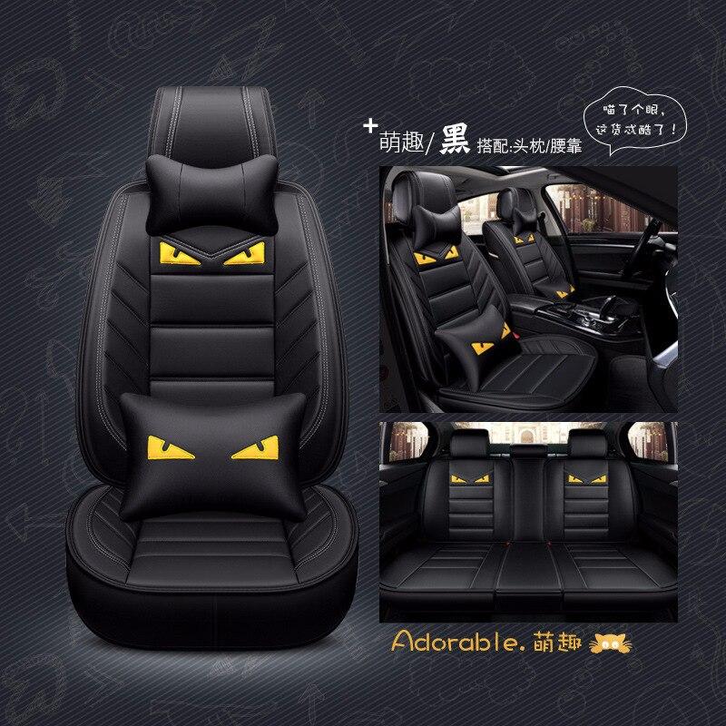 Car seat cover leather Adorable Cartoon Auto seat cushion for little monster for bmw e36 e46 e60 e90 X5 mercedes Cadillac Audi bmw and mercedes seat occupation sensor emulator green