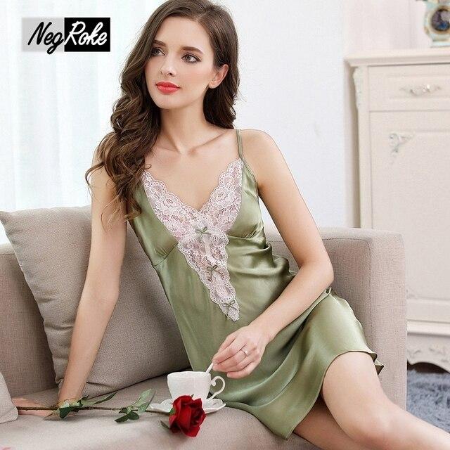 c6941cf418 Sommer design sexy nachthemden frauen 100% echte seide spaghettibügel damen nachtwäsche  elegant nachthemd frauen nachtwäsche