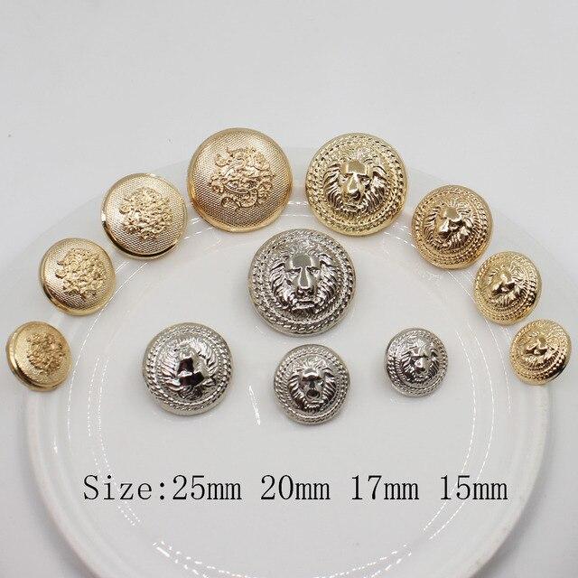 זהב כסף צבע, מתכת האריה סגנון כפתורים, סגסוגת בגד אביזרי DIY חומרים, תפירת אביזרי חתונה אספקת מלאכה