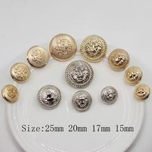 Botones de aleación de Metal de Color dorado y plateado con diseño de León, accesorios para ropa DIY, materiales de costura, accesorios para manualidades de boda