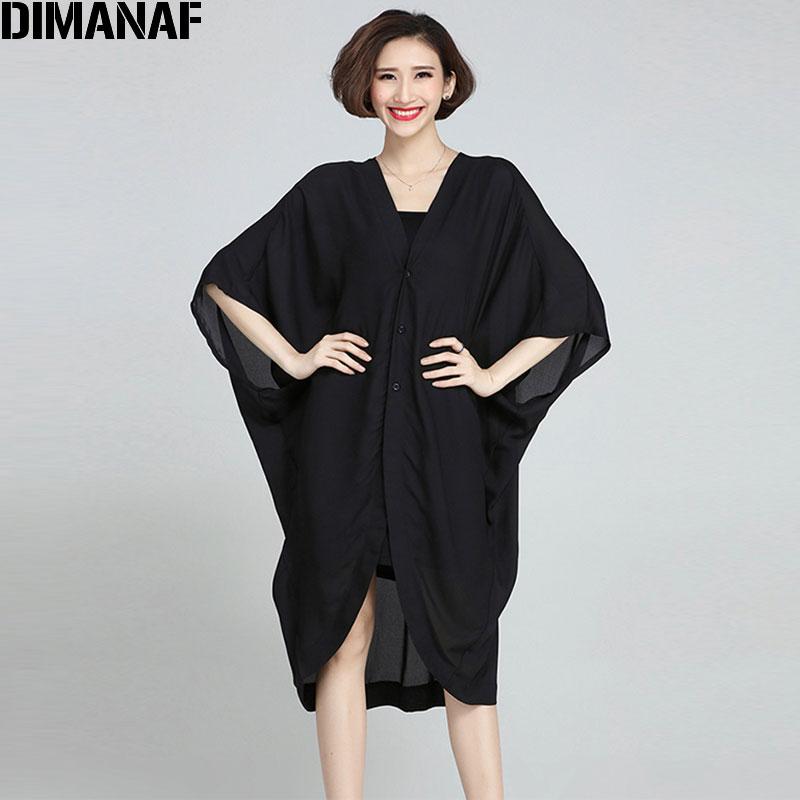2017 New Women Blouse Chiffon Stor Storlek Solid Sommar Lång Coat Mode Casual Kvinnlig V-Neck Black Cardigan Plus Storlek 5XL Kläder