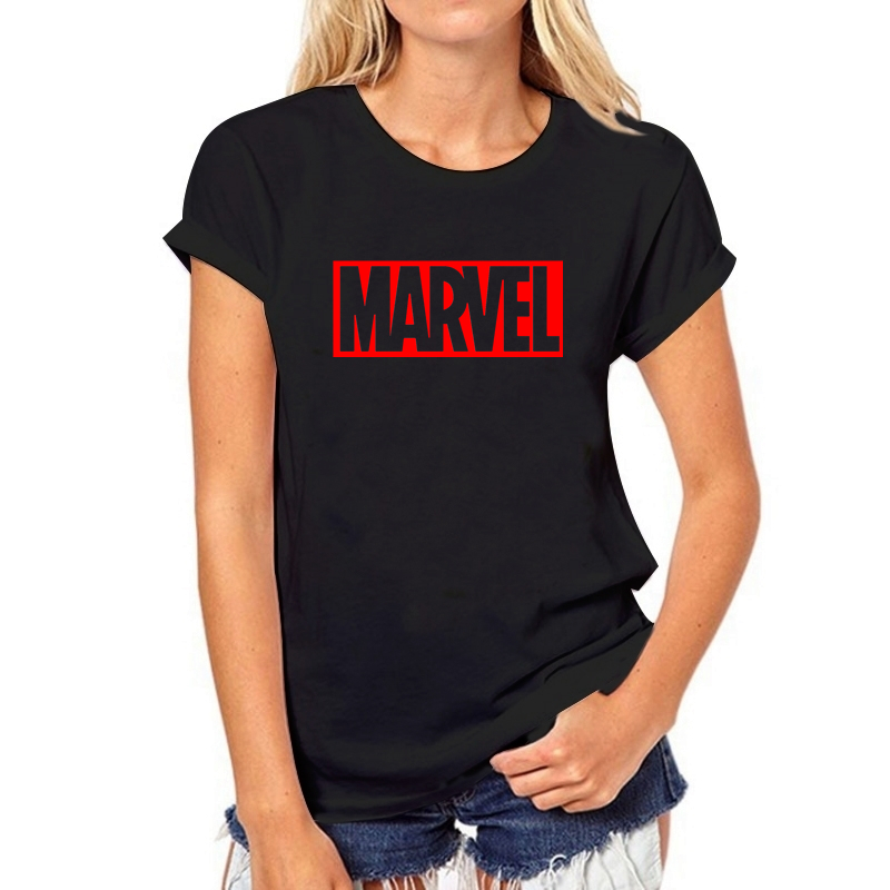 2019 NEW Summer T Shirts Womens Tshirts Female Girls Tops Tees T-Shirts Slim Womans MARVEL RED Letter White Black Round Neck