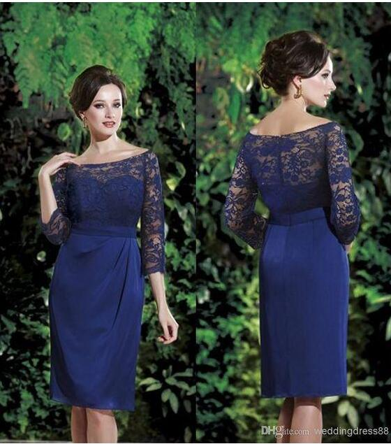 2017 Dark Navy Blue Lace Short Mother Of The Bride Groom