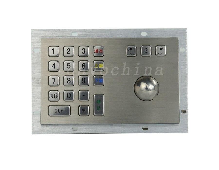 Metal Kiosk Keyboard with Trackball Mechanical trackball keyboards rugged keyboards vandal proof keypads