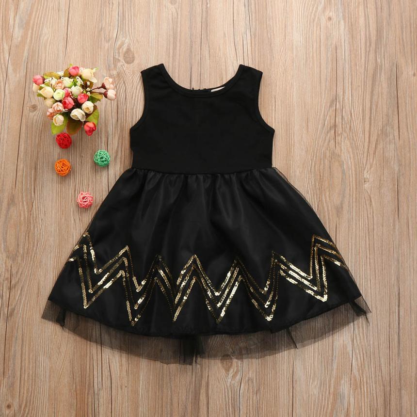 5abe1c6a7 2017 New Black Spring Fall Princess Dress Girl Clothes Kids Dresses ...