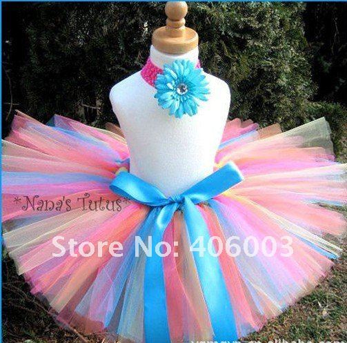 free shipping retail new rainbow fluffy handmade tutus for girls tulle tutu skirts