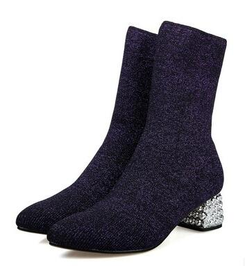 New Fall Winter Sexy Stretch Fabric Small Pointed Short Sock Boots With Low Diamand for Woman Crystal Heel