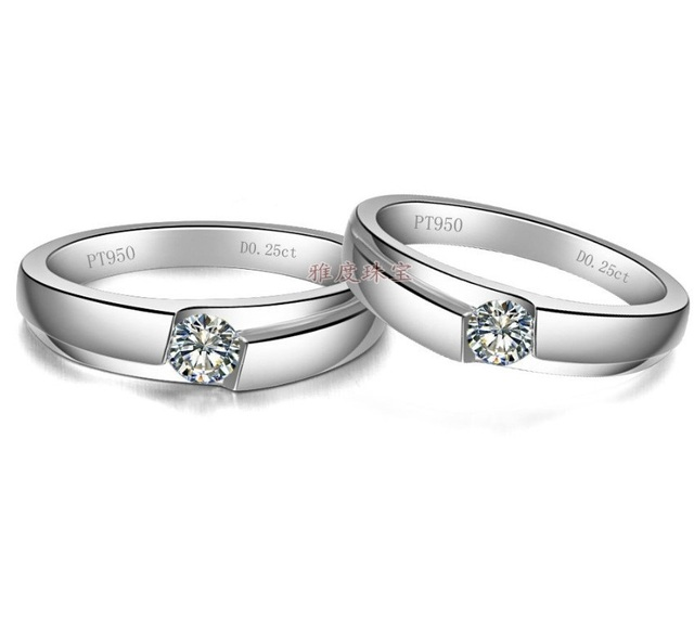 Couple Jewelry Wedding Anniversary 0 5ct Synthetic Diamonds Rings For Lovers Sterling Silver Couple Jewelry White