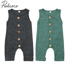 Baby Summer Clothing Cotton Infant Romper Kids Baby Boy Girl Clothes Sleeveless Solid Single Breasted Casual Jumpsuit 0-24M