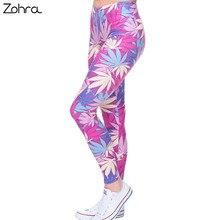 Zohra способа сексуальные леггинсы женщин сорняков печати розовый фитнес леггинсы сельма стретч леггинсы высокой талией legins брюк случайные брюки