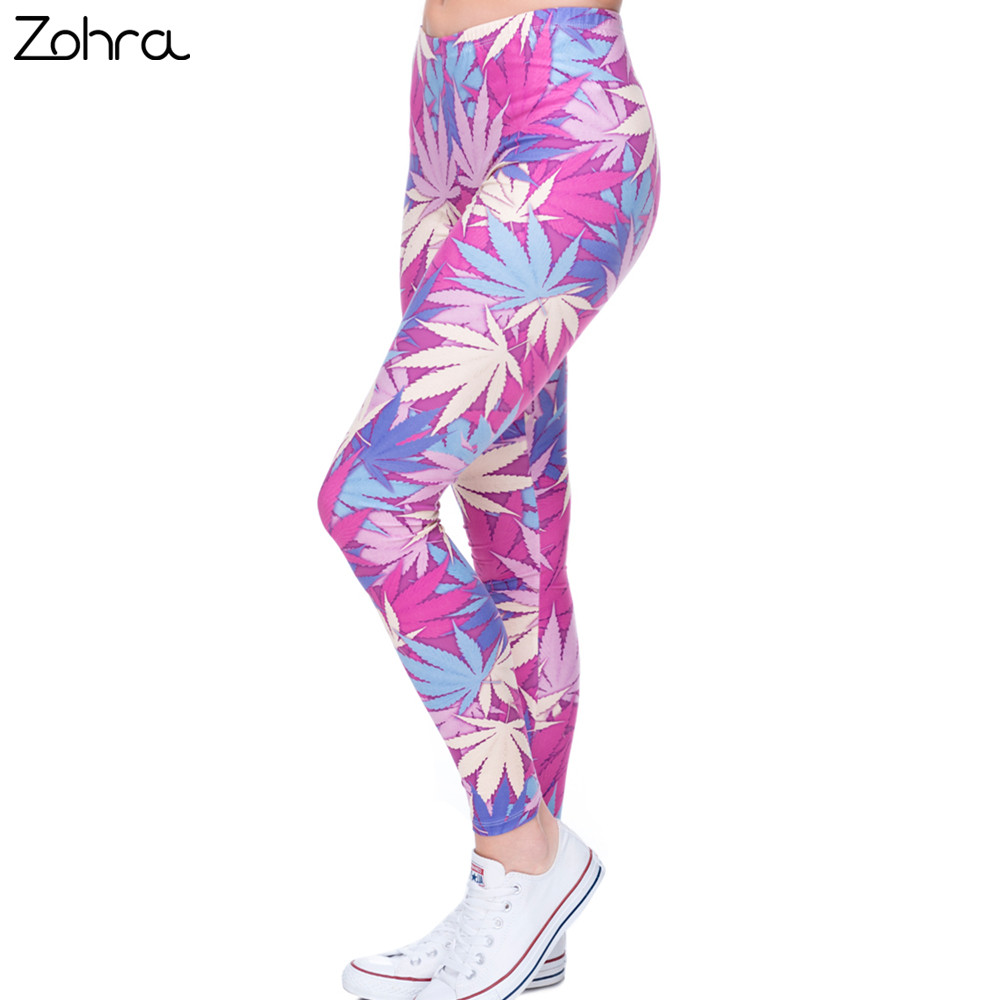 Zohra Fashion Sexy   Leggings   Women Weeds Print Pink Fitness   Legging   Silm Stretch Leggins High Waist Legins Trouser Casual Pants