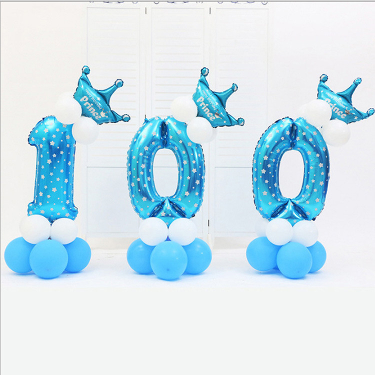 16pcs/pack Pink Blue 0-9 Numbers Large Helium Number Foil Children Festivals Dekoration Birthday Party Toy Hat For Kids