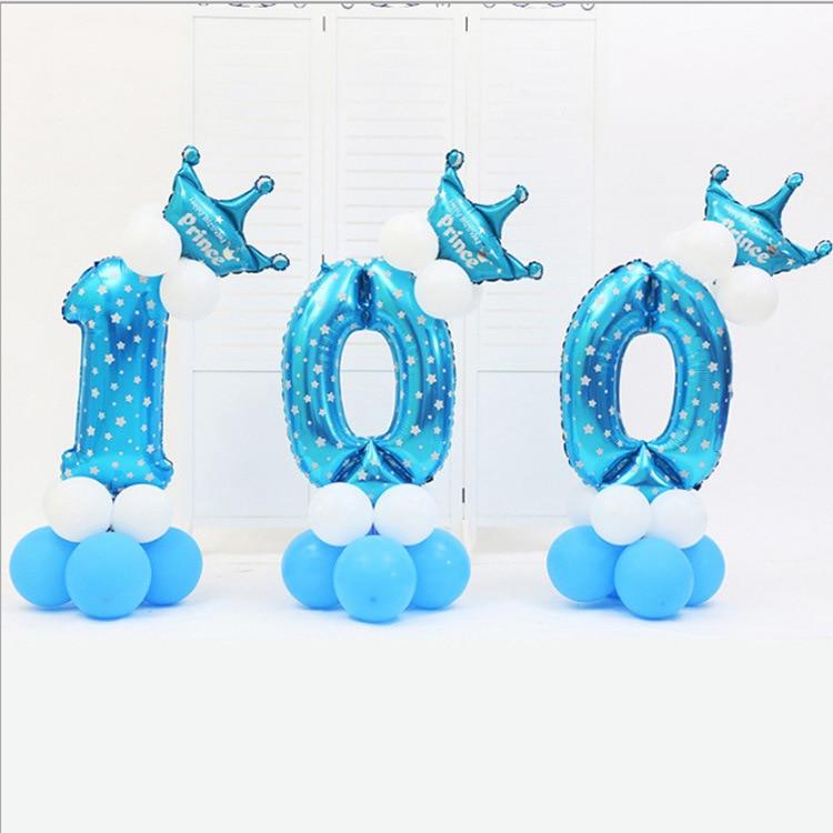 16pcs/pack Pink Blue 0-9 Numbers Large Helium Number Foil Children Festivals Dekoration Birthday Party Toy Hat For Kids