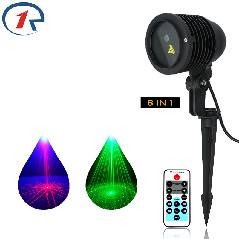 ZjRight Remote Control 8 effect rgb landscape Laser Lights Outdoor Garden lawn waterproof Bar ktv party stage house eaves lights 12v 50w colored rgb outdoor lights 110v wall projector flood light garden waterproof landscape lamp remote control by dhl 6pcs