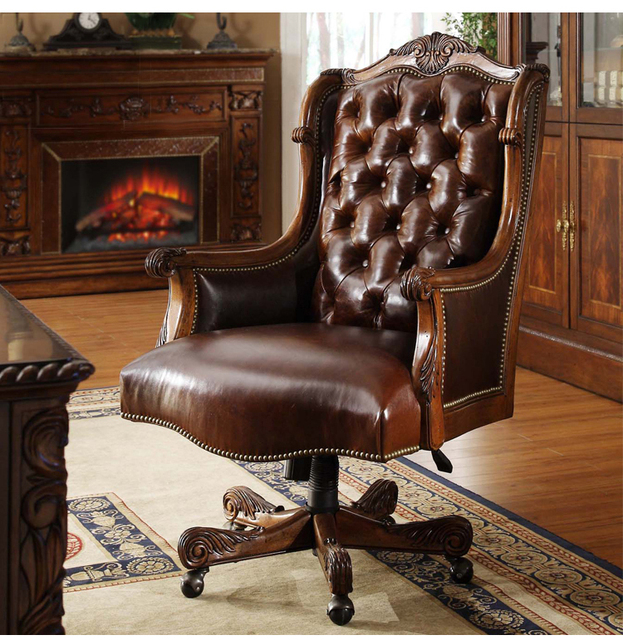 Solid Wood Leather Swivel Chair. Manual Carve Patterns Or Designs On  Woodwork Big Chair.