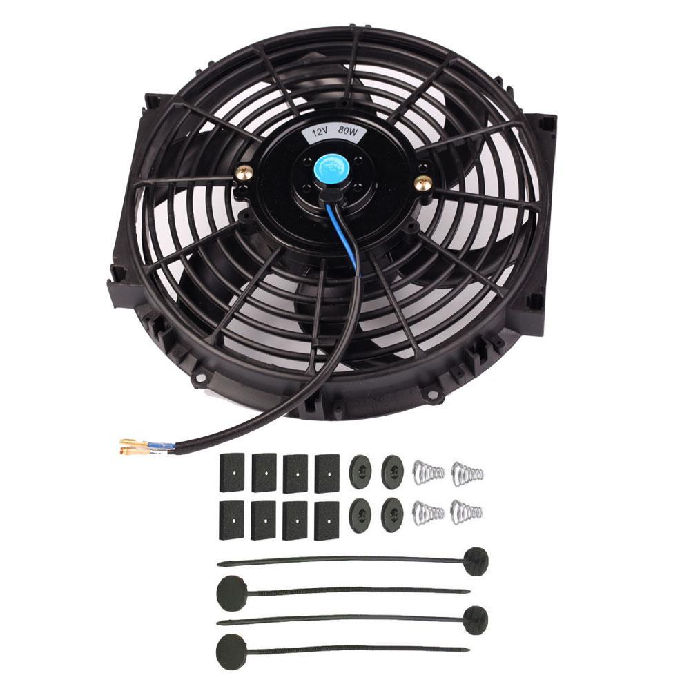 Universal 10 Inch Slim Fan Push Pull Electric Radiator Cooling Fan Kit 12V 80W Black Color