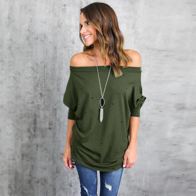 Mooistar #4005 Womens Hole Ripped Long Sleeve Off The Shoulder Shirt Loose Casual T-Shirt  1