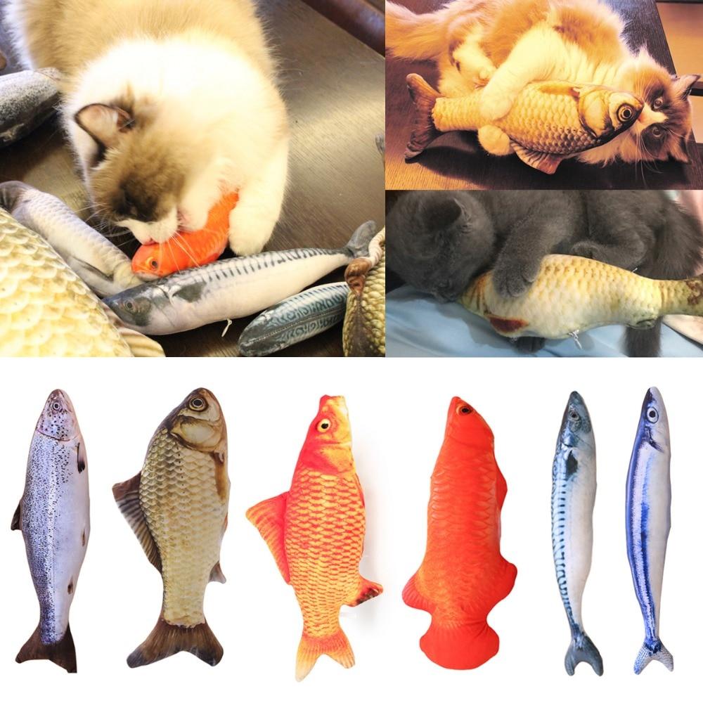 1PC Funny Lifelike Fish Shape Pet Catnip Toy Kitten Chewing Cat Toys Pet Supplies 30cm with Zipper