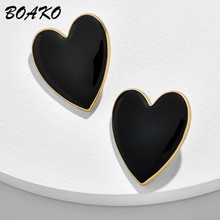 Female Heart Stud Earring Trendy Punk Big Love Shape Korean Earrings for Women Wedding Party Ear Jewelry Daily Accessories