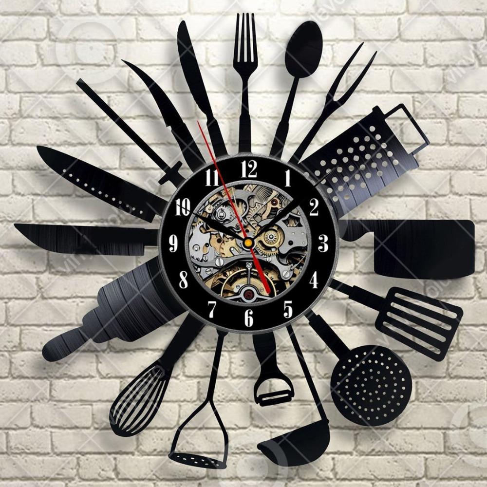 f8ffb3dbe47 Design Moderno Relógio de Parede talheres Garfo Colher Cozinha Relógio  Relógio Estilo Retro Registro de Vinil