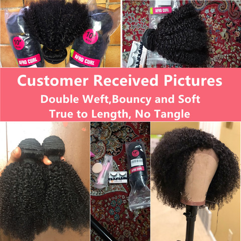bling hair Brazilian Hair Afro Kinky Curly Bundles with Closure 100% Remy Human Hair Bundles With 4*4 Lace Closure Natural Color Multan