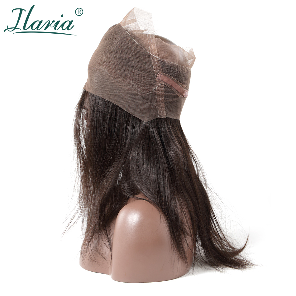 ILARIA HAIR Brazilian Human Hair 360 Lace Frontal Closure Straight With Baby Hair Around Pre Plucked