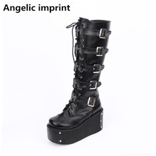 Lolita Boots Pumps Platform-Shoes Wedges Motorcycle-Boots Angelic Imprint Rhinestone