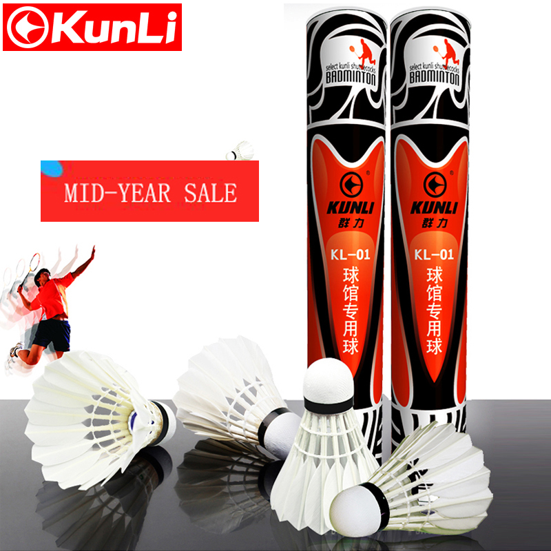 KUNLI-01 Top class duck feather badminton shuttlecock 12 pcs/dozen feather shuttlecock for competition 5dozen/lot free shipping