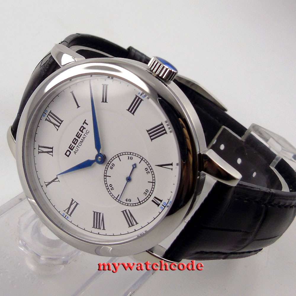 40mm Debert white dial Roman marks blue hands second at 6 Automatic mens Watch36 anshmei at 10 blue