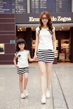Mother & Daughter White & Blue Matching Dresses