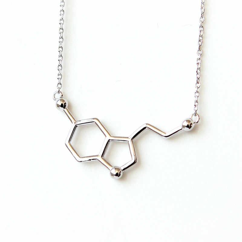 Stokrotki spersonalizowane srebro i platerowane cząsteczka serotoniny naszyjnik Dainty chemia łańcuszek wisiorek naszyjnik obojczyka