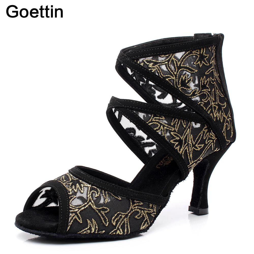 2017 Goettin Brand Negro Zapatos de baile latino Zapatos de compañerismo para mujeres Salsa Party Zapatos de baile de salón 7.5 cm
