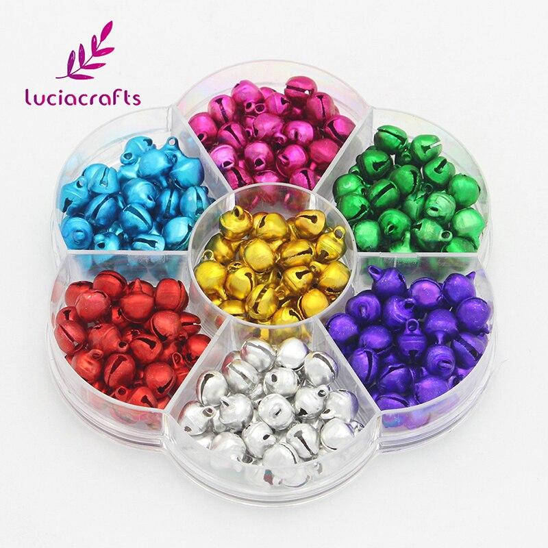 Lucia artisanat 8mm 200 pièces mélanger bricolage Jingle cloches de noël arbre pendentifs suspendus décoration artisanat accessoires H0212