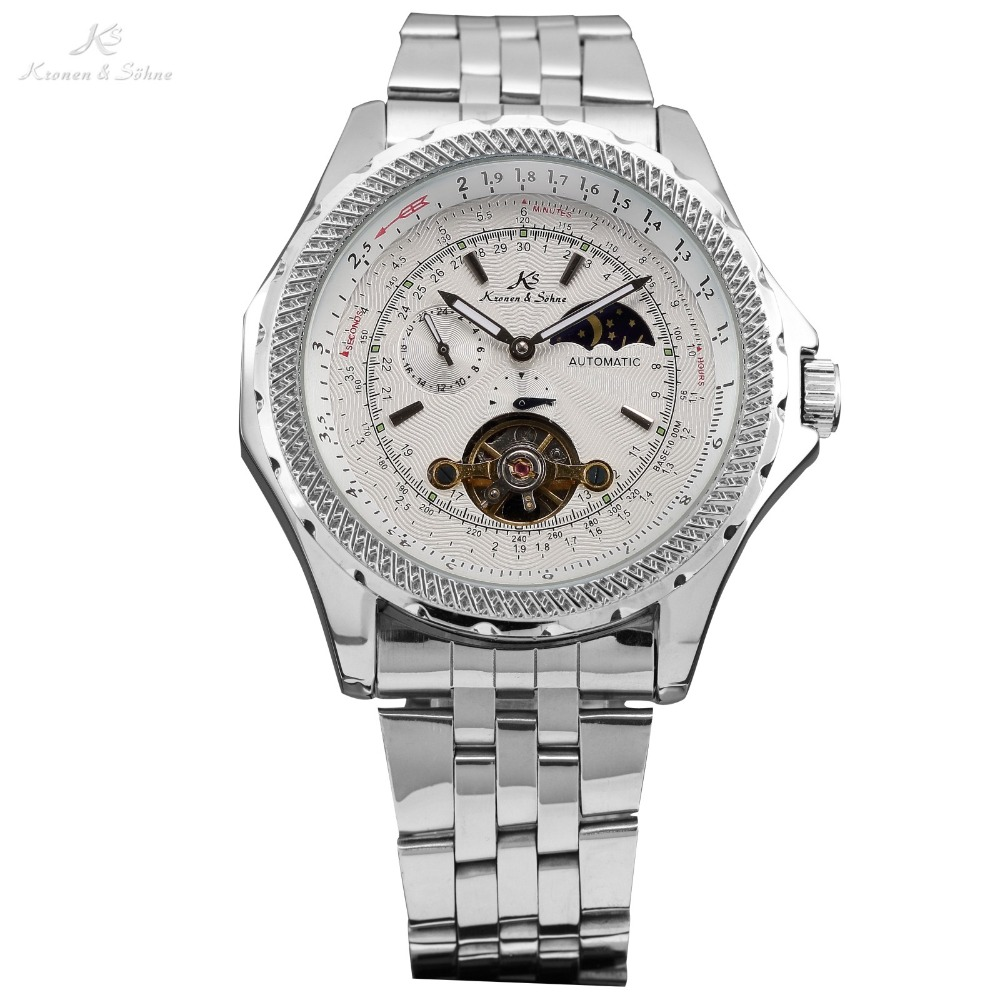 цена  Classic KS Brand Automatic White Moon Sun Display Tourbillion Men Dress Stainless Steel Band Dress Mechanical Wrist Watch /KS071  онлайн в 2017 году