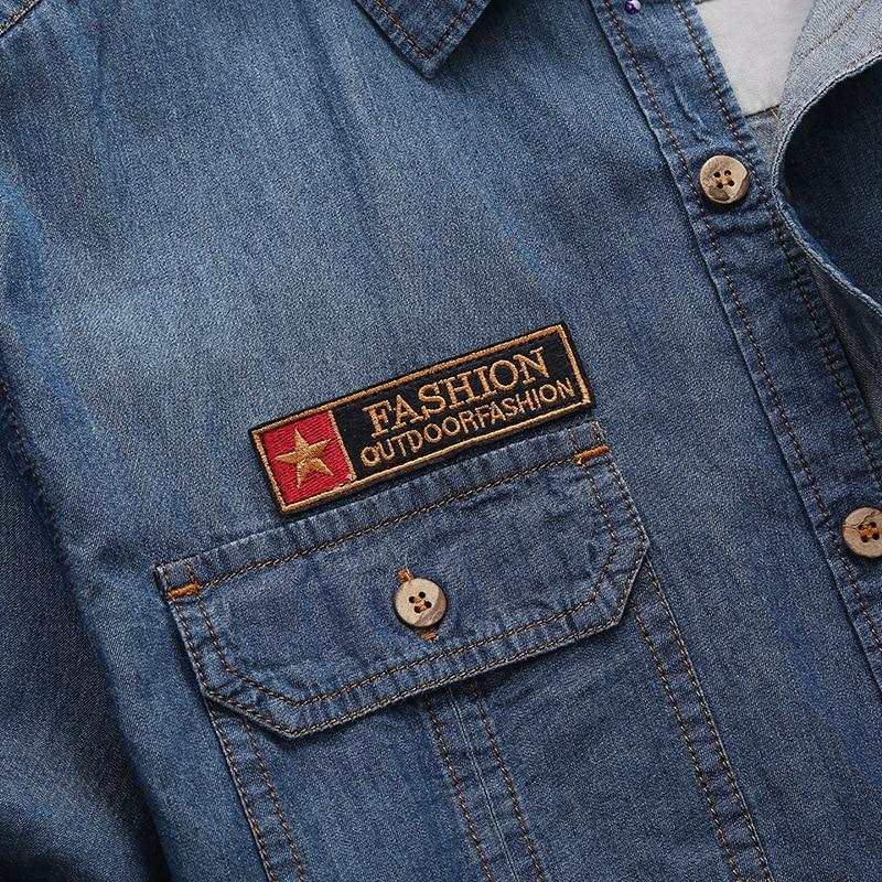 Image 5 - Los hombres de moda nuevo verano camisas de manga corta de mezclilla de hombres Casual de algodón de cuello Camisa Hombre Camisasmens denim shirtmale denim shirtdenim shirt -