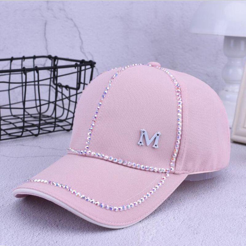 2018 Summer New Women Letter M Rhinestone   Baseball     Caps   For Female Adjustable Hip Hop Fashion Shiny Snapback Hats