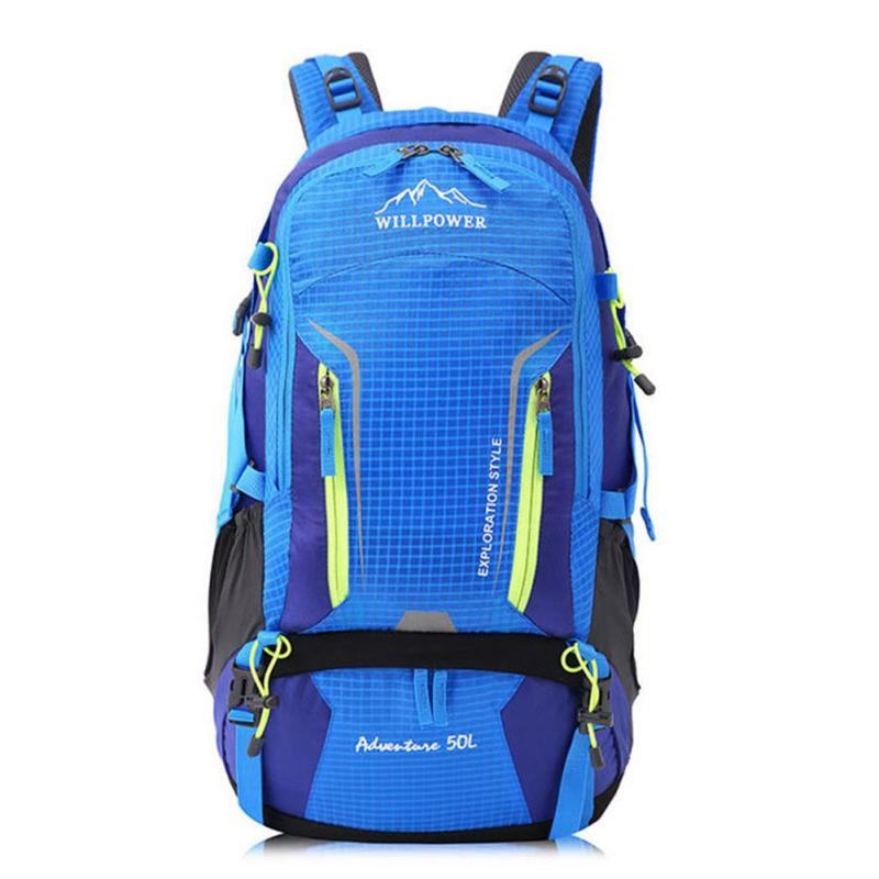 50L Hit Color Travel Backpack Waterproof Oxford Mountaineering Knapsack Bag Men Women Riding Bicycle Trekking Rucksack Bag Z0 75l external frame support outdoor backpack mountaineering bag backpack men and women travel backpack a4809
