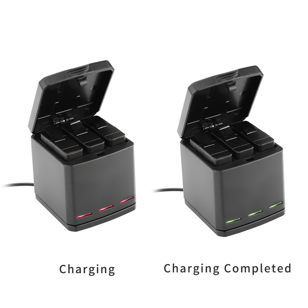 TELESIN 3Way LED Battery Charger Charging Box Carry Case and 3 Battery Pack for GoPro Hero 5 Black Hero 6 Accessories Set