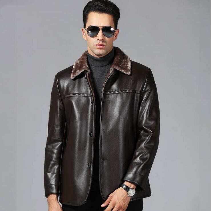 New arrival Men Genuine Leather Coat sheepskin men 39 s Jacket leather winter jackets mens EMS Free Shipping Plus Size M 4XL in Genuine Leather Coats from Men 39 s Clothing