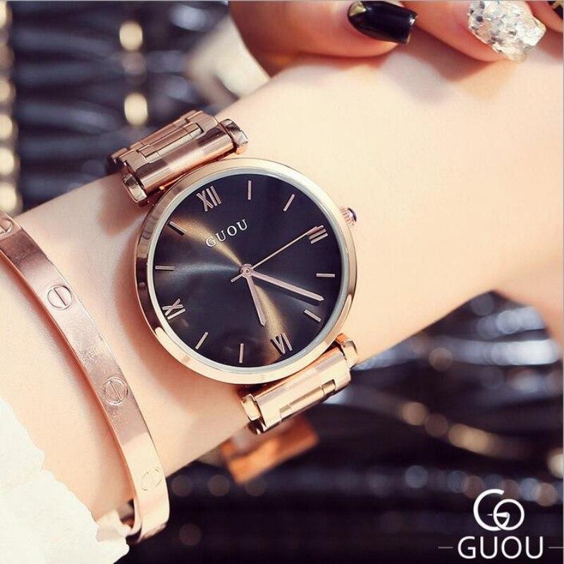 Las mujeres del reloj de guou Top marca de lujo de oro rosa mujeres de calidad Relojes de Acero completo elegante reloj Relogio feminino reloj Mujer
