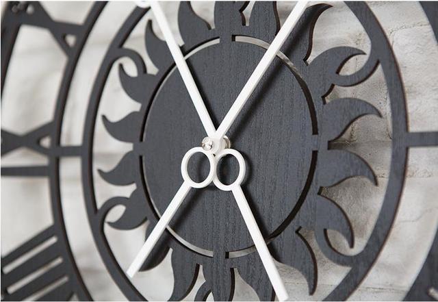 PINJEAS Roman Numerals Retro Wall Clock Living Room Modern Clock Art Quartz Clocks Home Decor Wall Clock Wall Decor WoodenClock