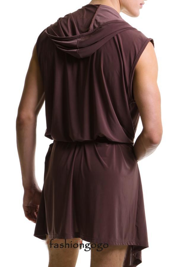 Casual Yoga Sports Suit Tracksuit Clothing Men Male Loose Sexy Ice Silk Pajamas Bathrobe Robe Sleepwear Hoodie Nightwear Top